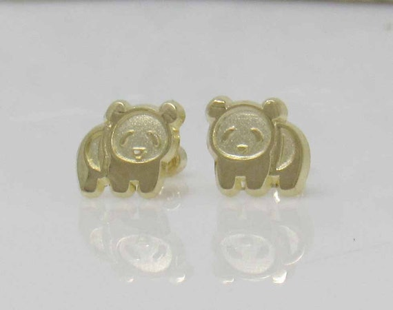 Gift box Children/'s Sterling Silver .925 enamel girl Panda bear stud earrings