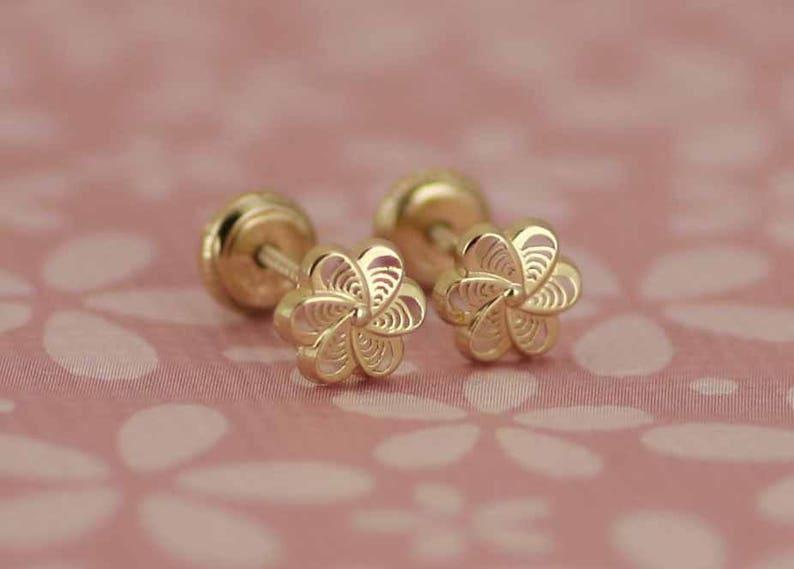 2dd7bdf8a 14k Gold Flower Stud Earrings 14k Girl Stud Earring Flower   Etsy