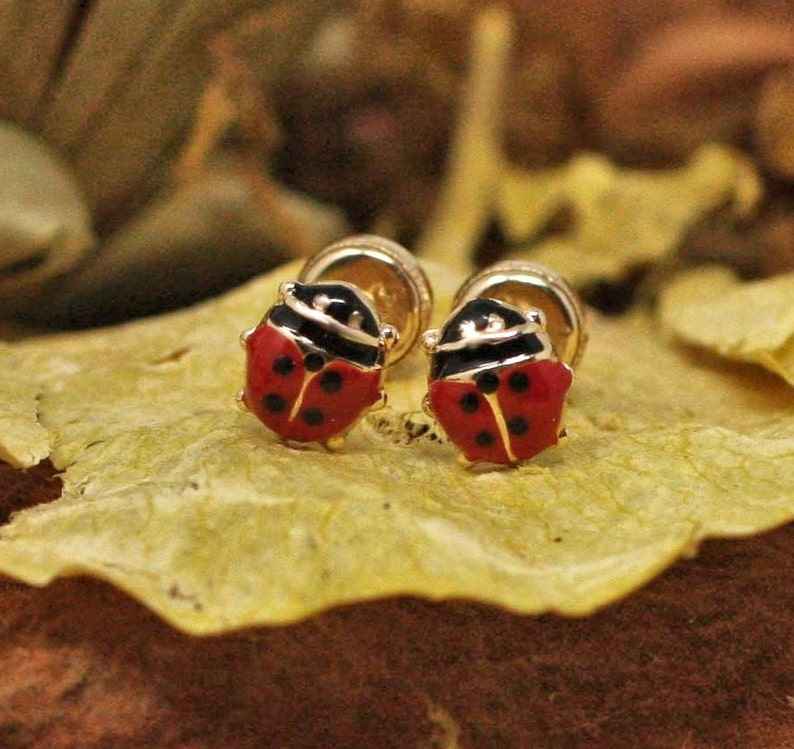 37e5ccdb9245a 14K Gold Enamel Lady Bug Stud Earrings, 14k Ladybug Earrings, Ladybug  Earrings, Lady Bug Stud Earrings With Secure Screw Back