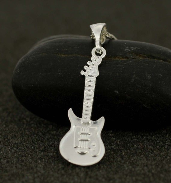 Sterling Silver Electric Guitar Necklace Silver Guitar Etsy