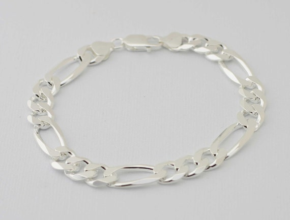 300-11MM Heavy Figaro Chain 925 Solid Sterling Silver Stamped Made in Italy