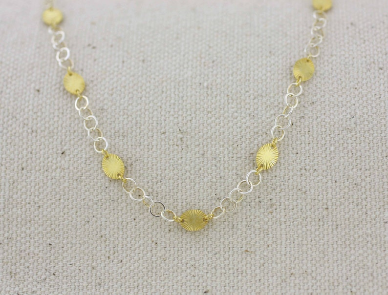 Sparkly Anklet Silver  Two Tone Disc Anklet Gold Over Silver Anklet Sterling Silver Anklet Diamond Disc Anklet Two Tone Silver Anklet