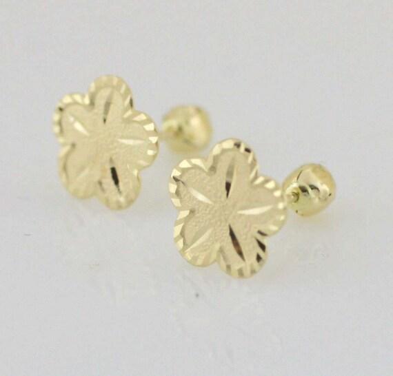 Solid 14K Yellow Gold Flower Screw Back Stud Earrings Babies Children 3mm CUTIE!