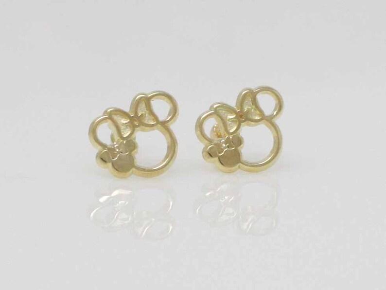 b238d7833 14K Gold Girl Stud Earrings Mouse Stud Earring Gold Stud   Etsy