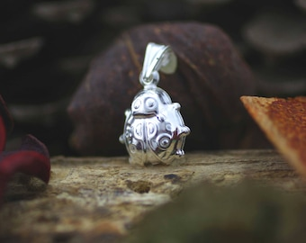 Sterling Silver Lady Bug Necklace, Silver Ladybug Charm, Silver Puff Lady Bug Necklace,  Hollow Lady bug Necklace, Lady Bug Necklace