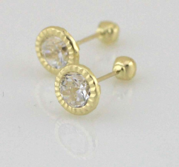 Stylish Black Cubic Zirconia Round Stud Earrings with Solid 14K Gold Embellishments Screw Back