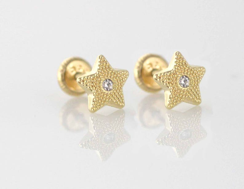3a5d6a30f 14K Gold Star Stud Earrings 14k Star Stud Earring with Cz | Etsy