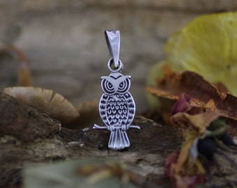 Silver Owl Necklace, Sterling Silver Owl Pendant, Animal Necklace, Silver Wisdom Necklace, Silver Bird Necklace,