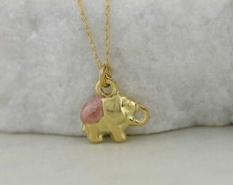 14k Solid Gold Tiny Elephant Necklace, 14k Elephant Necklace,14K  Tiny Elephant Charm, 14k Elephant Two Side Enamel Necklace