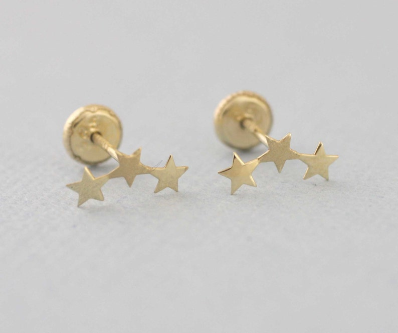 5b962a264 14K Gold Three Tiny Star Stud Earrings 3 Star Stud Earrings | Etsy