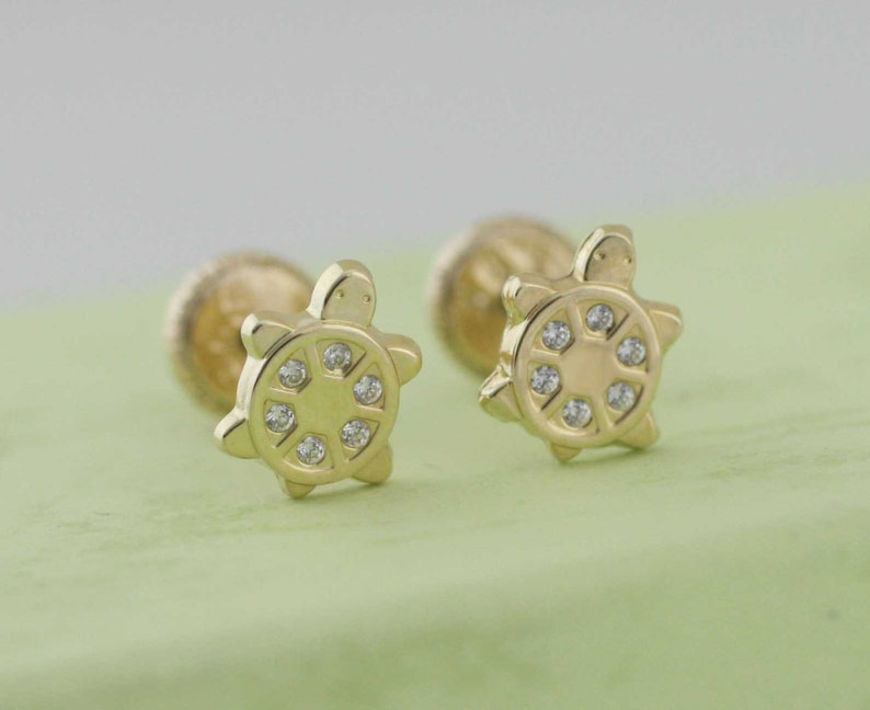 730542133 14K Gold Turtle Stud Earrings Gold Turtle with Cz Stud   Etsy