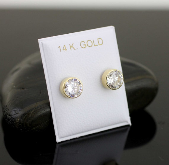 7mm Round Cubic Zirconia Bezel Set Stud Earrings Round Circle Stud Earrings for Women Girls 14k Yellow Gold Over