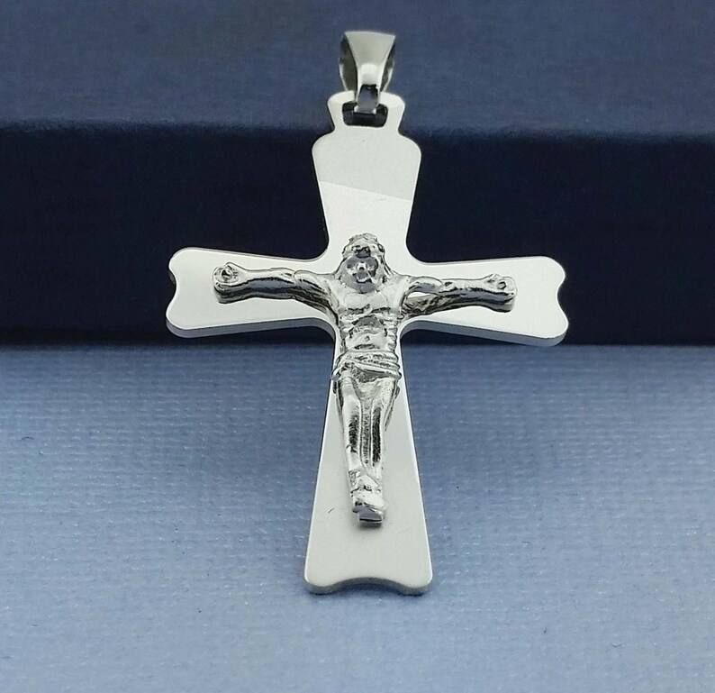Sterling Silver Cross Necklace, Religious Charm, Protection Charm, Sterling  Silver Pendant, Silver Cross Matte and Shiny, Silver Crucifix