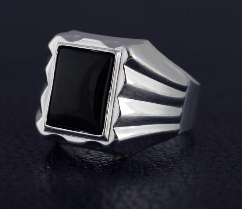 feaefe90cf76 Anillo de plata para hombre Onix anillo Onix hombres anillo