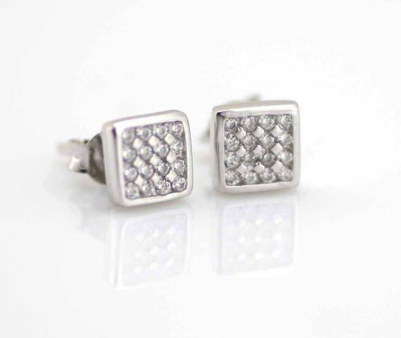 16cc6689f Square CZ Stud Earrings Silver Square Post Stud Earrings   Etsy
