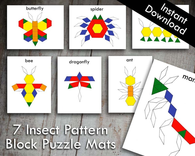 photograph about Printable Pattern Block identify 7 Insect Bug Routine Block Tangram Puzzles Printable Electronic Down load