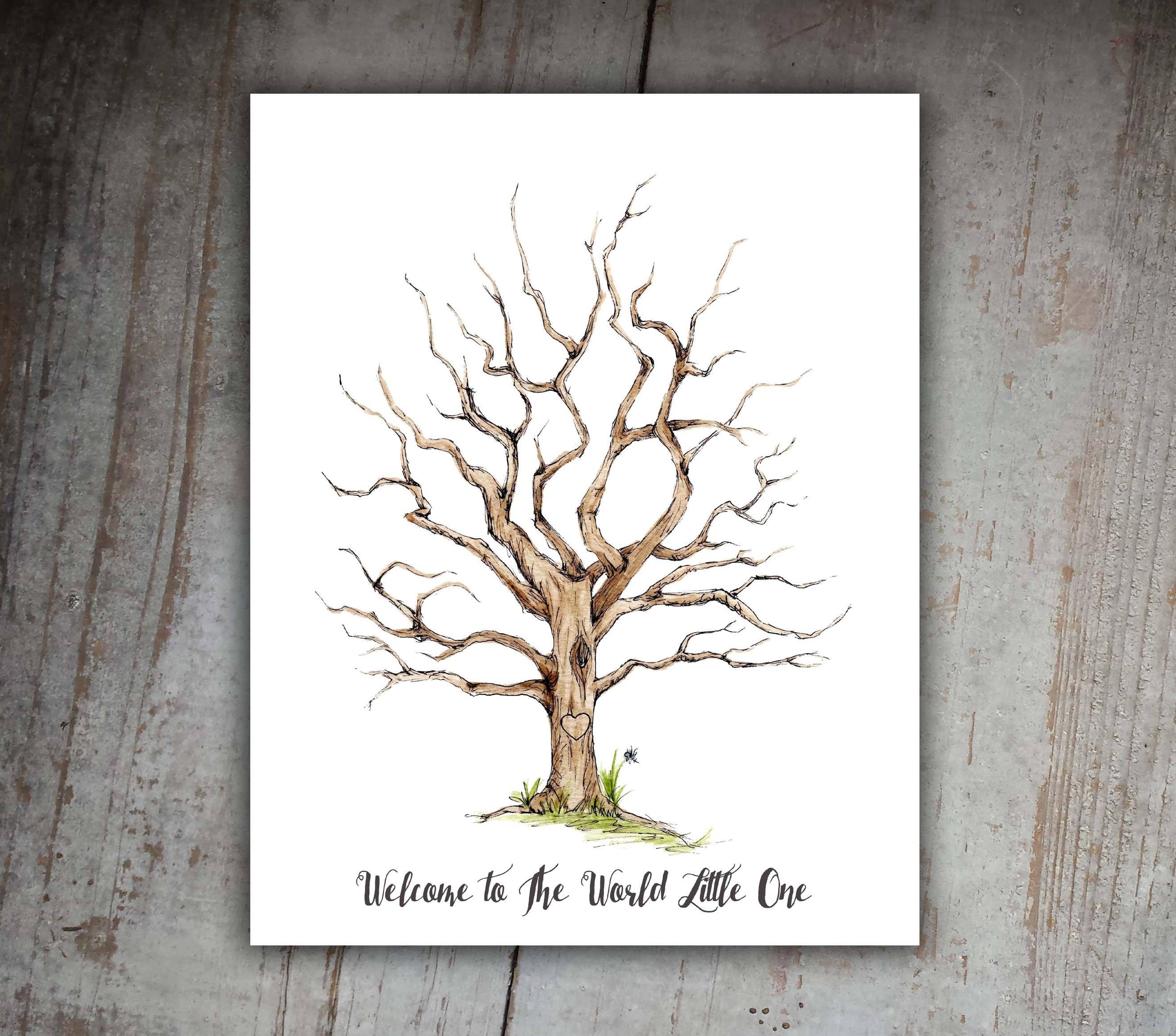 Welcome To The World Little One Fingerprint Family Tree Etsy