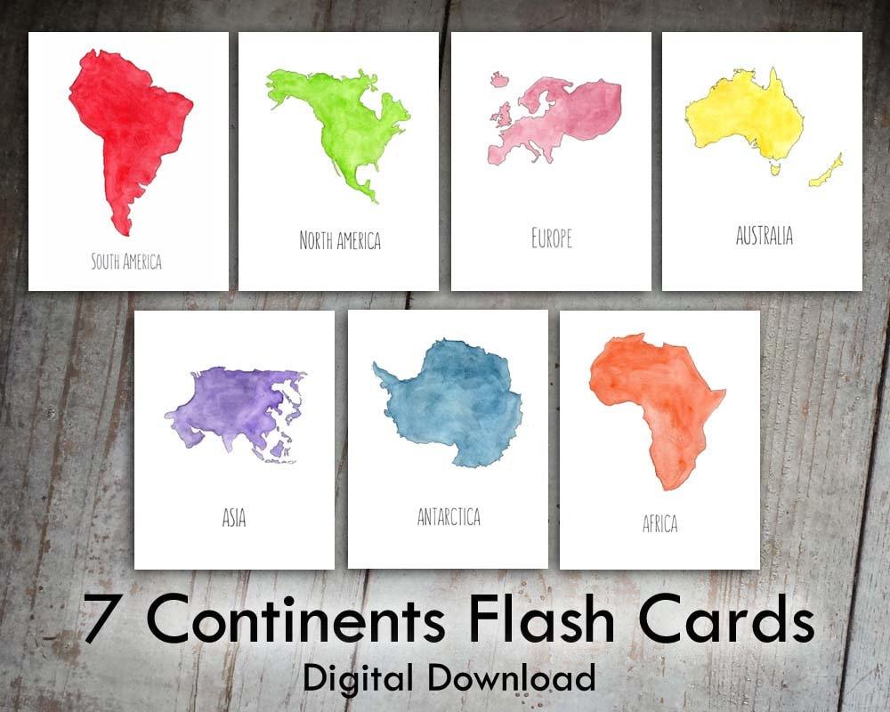 7 Continents Printable Flash Cards Digital Download Nursery Etsy