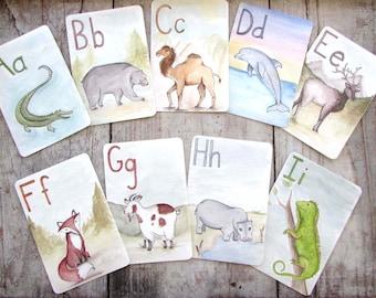 ABC Animal Alphabet Printable Flash Cards, Digital Download Nursery Art, Children's Educational Gift, Letter Wall Art, Classsroom Art