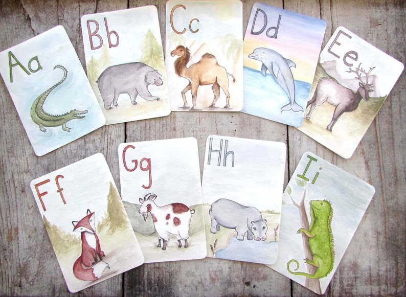 Large ABC Animal Alphabet Printable Flash Cards Digital image 0