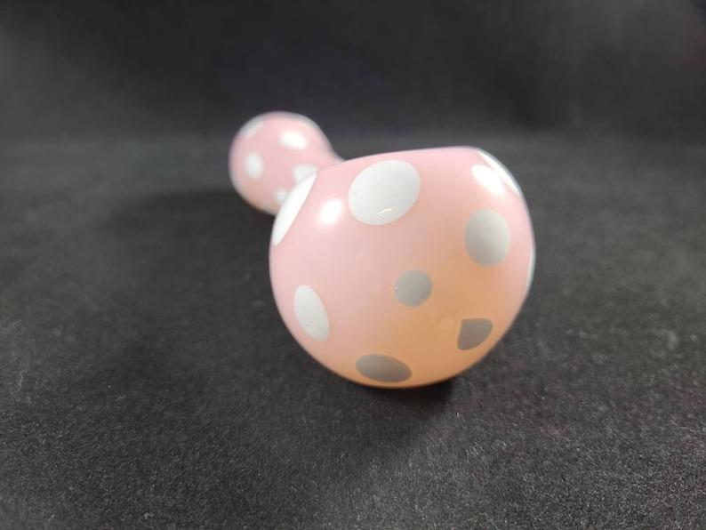 Pink And White Polka Dot Pipe  Pink Glass  Glass Smoking Bowl