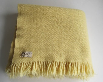 7a787878cd Faribo Pale Yellow Cream Wool Blanket Throw With Fringe - 52 x 44