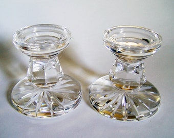 Waterford Crystal Candle Holders - Two Pillar Style Large Candlesticks - 3 1/2 Inches Tall - Pair of Candlesticks