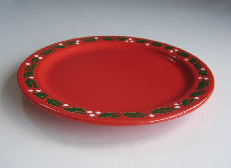 Like New 3 Waechtersbach Holly on Red Salad Plates Green Holly Leaves and White Berries Winter Holidays Christmas Red 7 78 Plates