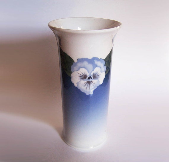 Royal Copenhagen Vase Ca 1900 With Pansy 9 12 Inches Tall Etsy