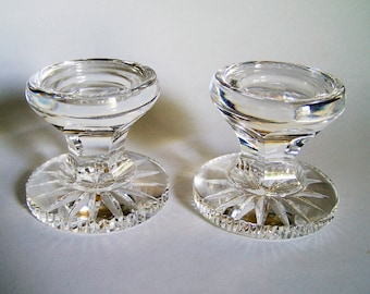 Waterford Crystal Candle Holders - Pair of Heavy Lead Crystal Pillar Style Candlesticks - 3 Inches Tall