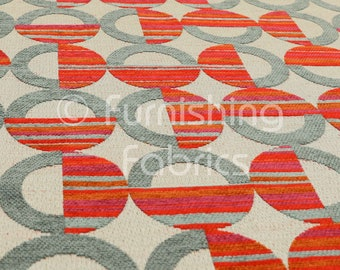 New Geometric Symmetry Pattern Blue Orange Coloured Material For Curtain /& Upholstery Fabric For Sale By The Metre