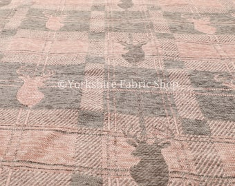 Modern Soft Like Cotton Small Stag Pattern Upholstery Woven Fabric Brown Colour