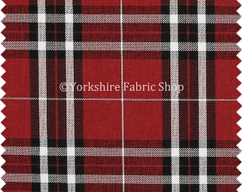 Scottish Theme Tartan Plaid Pattern Chenille Red Upholstery Fabric Perfect  For Sofas Chairs Curtains Soft Furnishing   Sold By The Metre