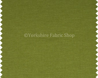 Hard Wearing Linen Effect Chenille Upholstery Furnishing New Lime Green Fabric