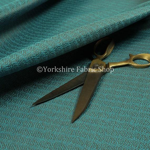 Herringbone Pattern Semi Plain Medium Weight Upholstery Fabric Teal Blue Colour