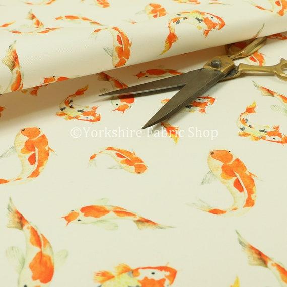 Orange Koi Fish Swimming Pattern Velour Velvet Soft Furnishing Upholstery Fabric