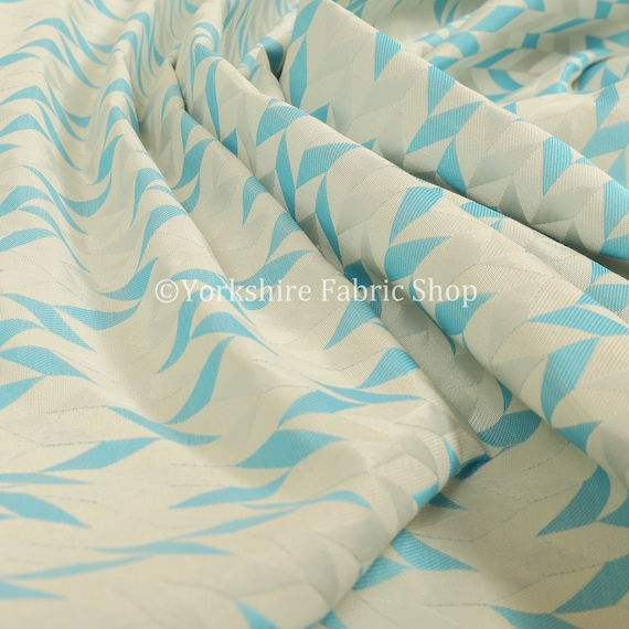 Lightweight Chenille Patchwork Pattern Teal Colour Upholstery Curtain Fabric