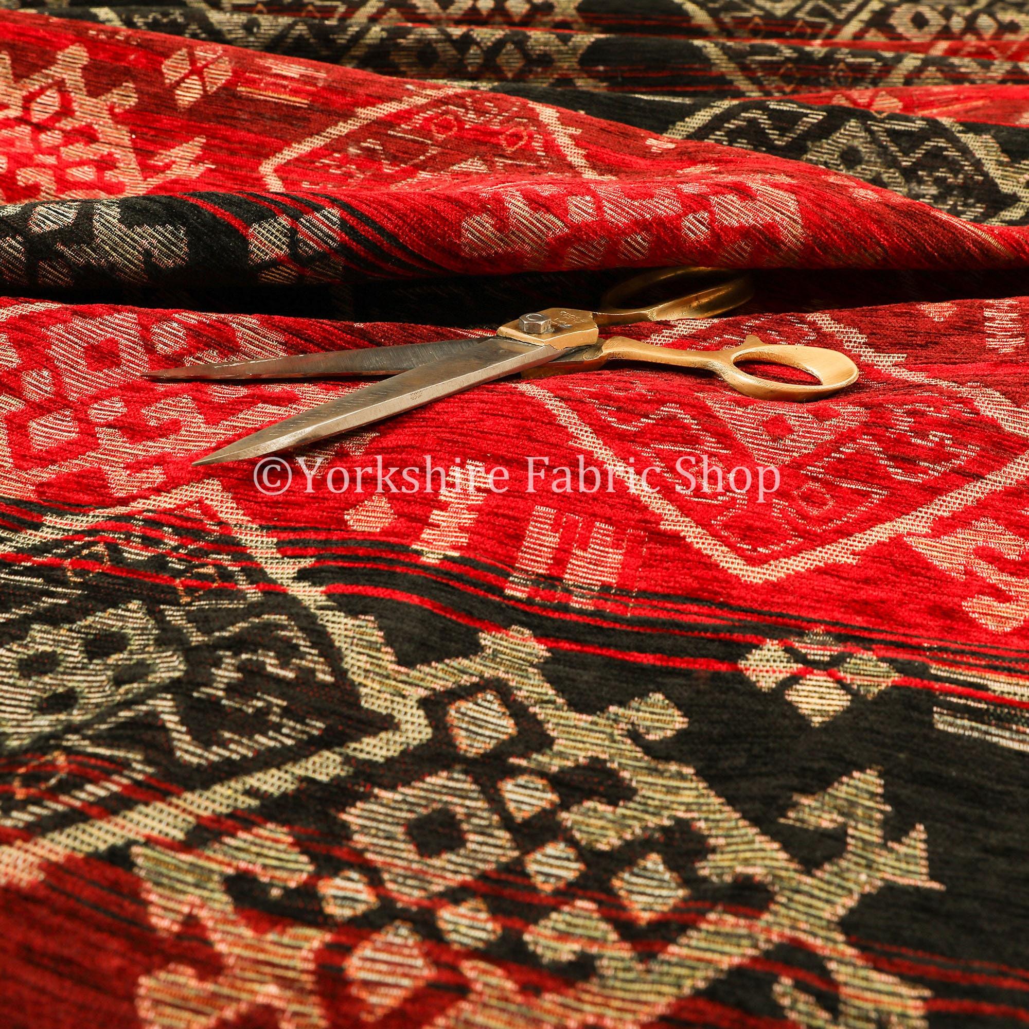 Poids lourds Kilim motif aztèque Chenille noir noir noir rouge Rideau tissus d'ameublement - vendus par le tissu de longueur de 10 mètres 134eca