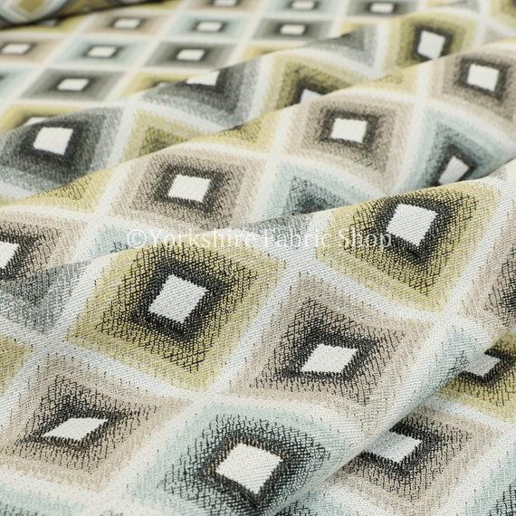 New Modern Woven Geometric Cube Pattern Yellow Grey Designer Upholstery Fabrics