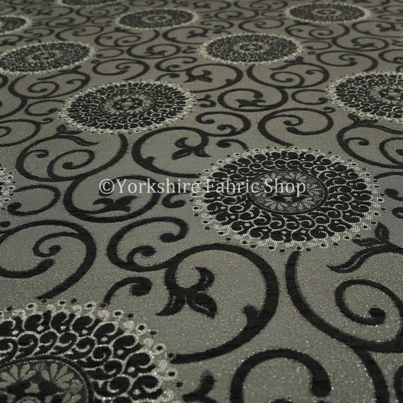 ... Qualité Floral Unique rond motif noir brillant Floral Qualité  d ameublement ameublement tissu - vendu 3fe592087daa
