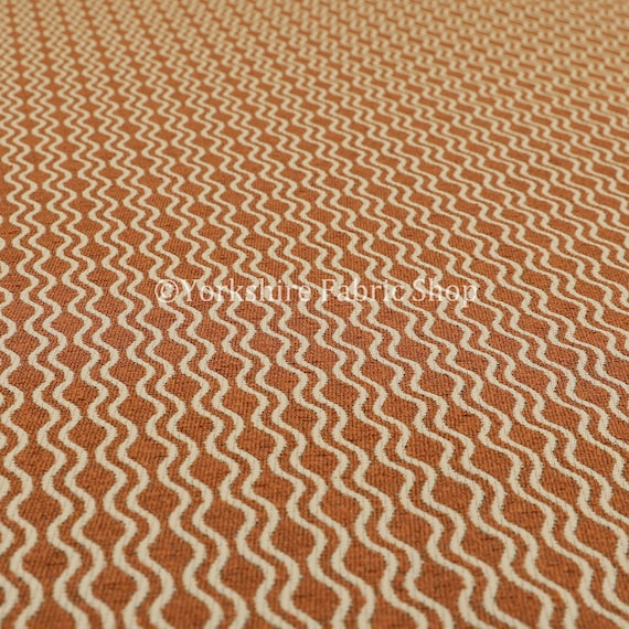 New Quality Chenille Woven Modern Gingham Patchwork Orange Upholstery Fabric