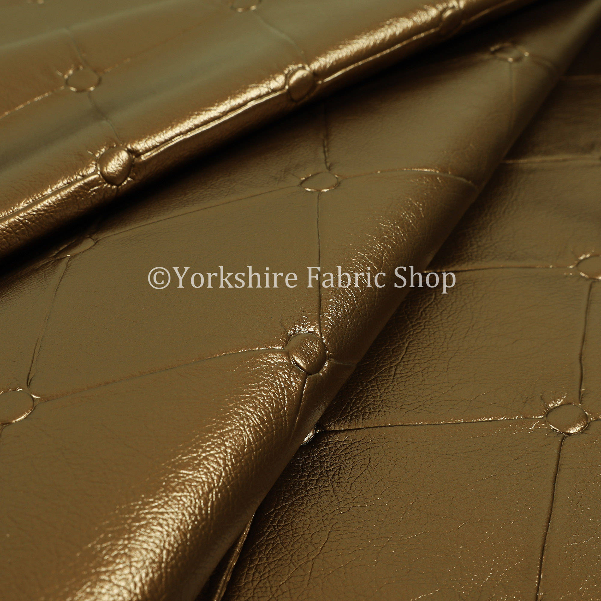 Chesterfield Design Gloss Brown Faux Leather Upholstery Furniture Seating Fabric - Sold By The 10 Metre for sale