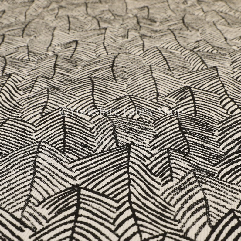 New Chenille Quality Woven Modern Leaf Floral Pattern Black Upholstery Fabric Sold By The 10 Metre Length Fabric