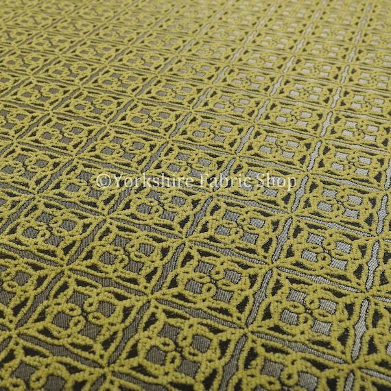 Modern Small Medallion Geometric Pattern Blue Silver Shine Upholstery Fabric