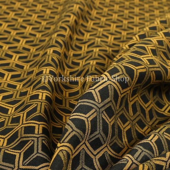 Nouvelle Chenille léger Cube 3D motif géométrique or noir tissus d'ameublement - vendus par le tissu de longueur 1 mètre