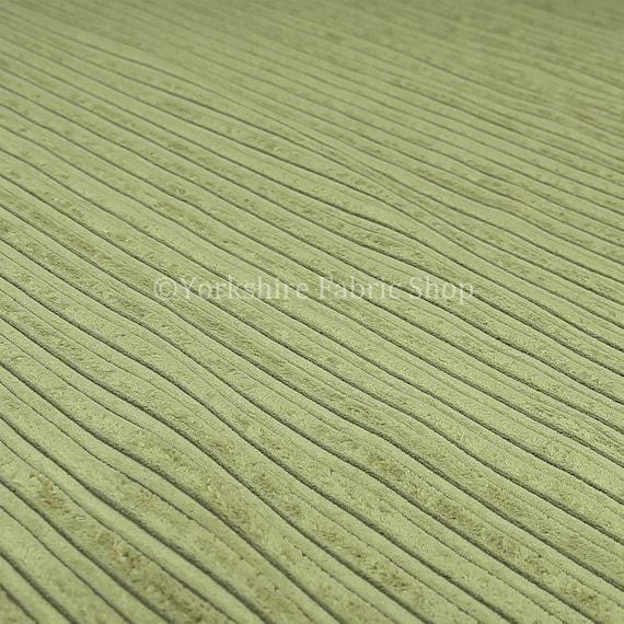 Textured Furnishing Material Brick Effect Corduroy Fabric In Olive Green Colour