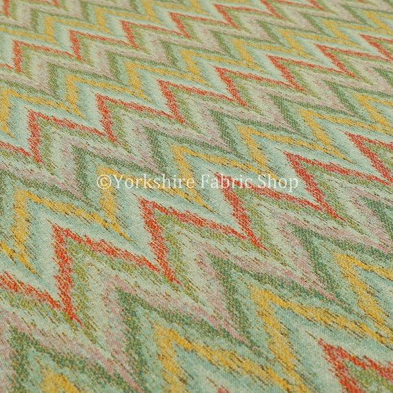 Chevron Striped Chenille Red Green Orange Yellow Upholstery Furniture Fabric