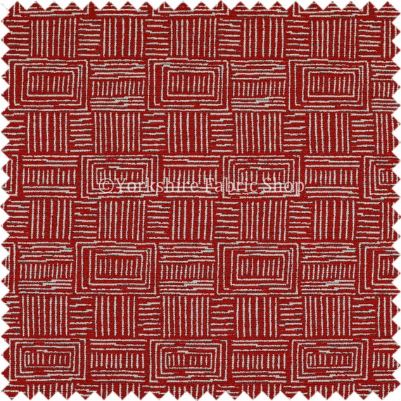 New Quality Chenille Woven Modern Gingham Patchwork Red Upholstery Fabric Sold By The 1 Metre Length Fabric