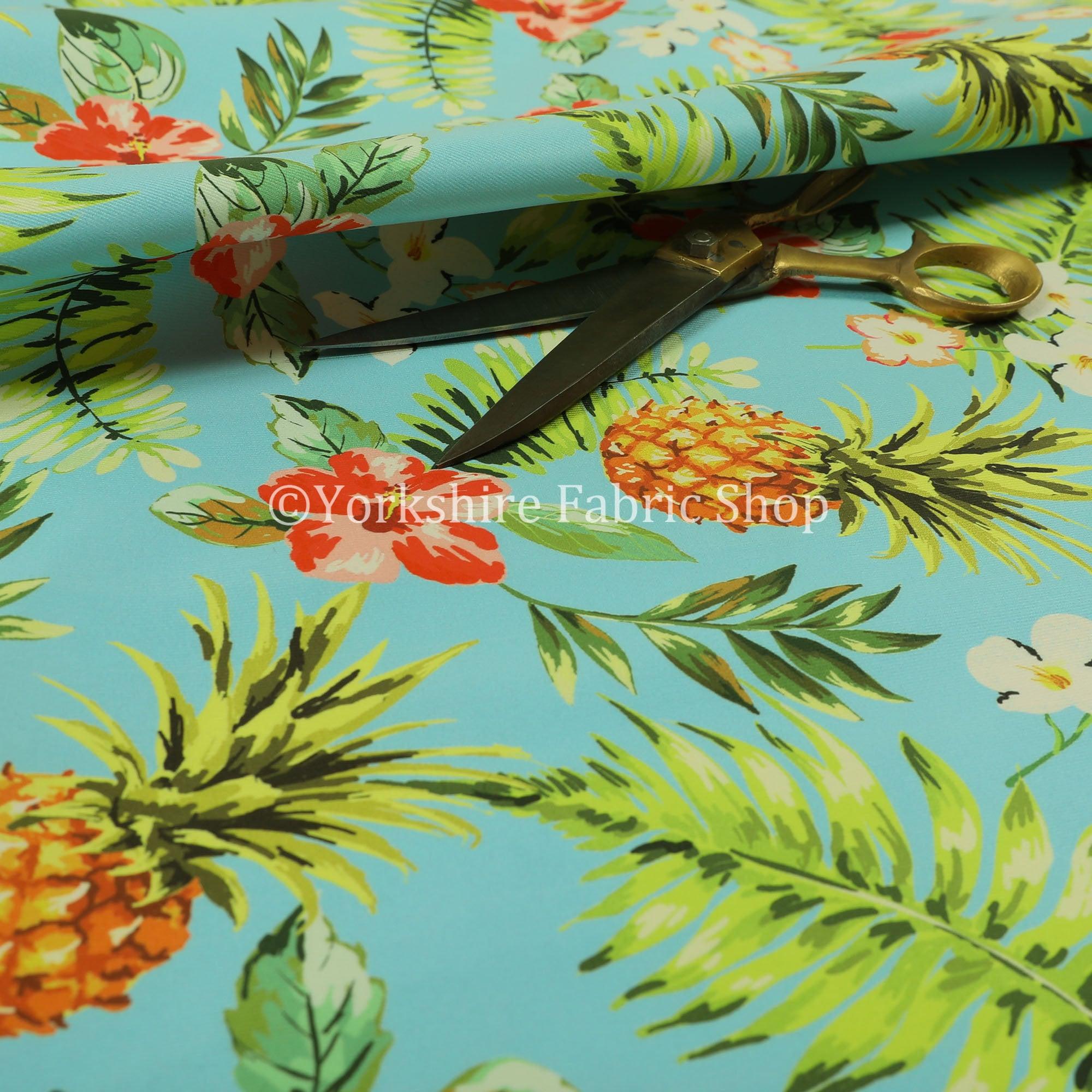 À Fruits ananas ananas ananas Floral coloré bleu motif velours velours d'ameublement tissus - vendus par le tissu de longueur de 10 mètres 555c8c