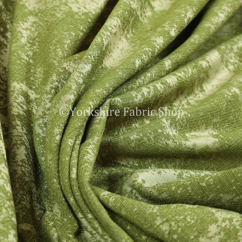 Modern New Semi Plain Abstract Pattern Yellow Chenille Upholstery Curtain Fabric